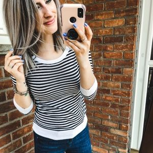 Ann Taylor Black & White Striped Button Sweater SP